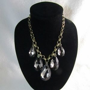 Grey Glass Prism Gold Tone Statement Necklace